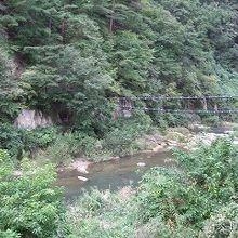 飯坂温泉周辺の露天風呂から見える渓流のせせらぎ