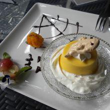 デザートは九十九里産の南瓜がベースです