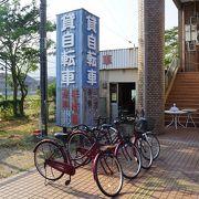東萩駅出てすぐの貸自転車屋さん