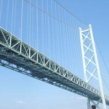 明石海峡大橋の真下を通る時が盛り上がります。