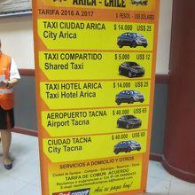 到着ロビーの出口にあるタクシー・コレクティーボの料金表