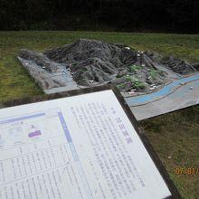 上り道入口に月山富田城の模型と説明板が。