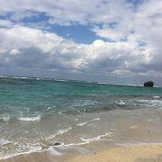 名瀬から20分ほどで美しい海
