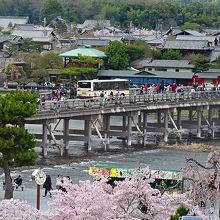 部屋の窓から見た・・・嵐山公園の桜と渡月橋。