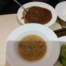オニオンスープとカレーライス