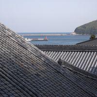 屋根瓦越しに海も見える