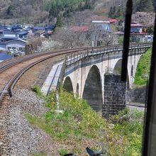 橋の上を通る電車の先頭からも写した