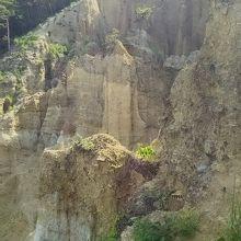 頂上から見た土柱