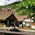 茅葺き屋根のレトロな駅舎