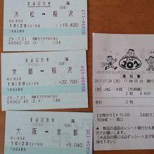 浜松~大阪間の格安乗車券