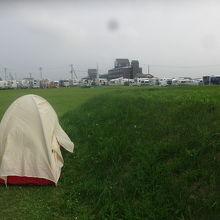 駐車場のすぐ近くに臨時キャンプ場はあります