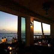 夕日を見ながらのディナーは最高です