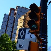 自転車用の信号も街中にあります