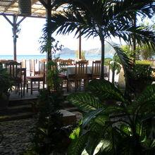 緑に囲まれた店内から、海岸沿いの客席を通して、海岸が見えます
