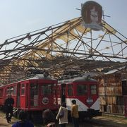 終点の下津井駅跡は電車の宝庫