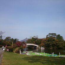 広々としてキレイに整備された公園、駒ヶ岳と大沼湖の景色が最高