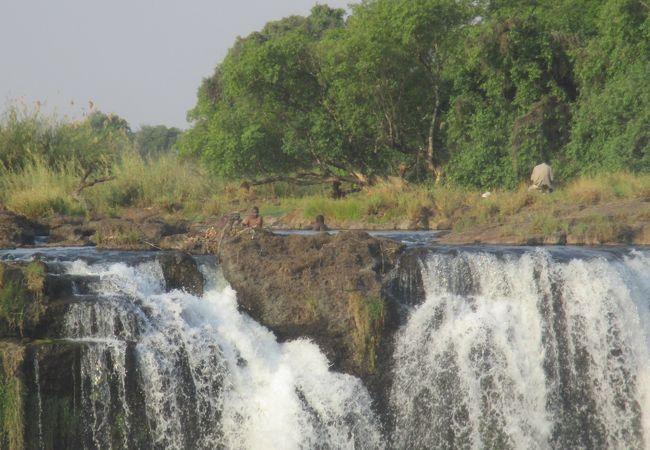 ジンバブエ側の見学スポットからザンビア側の滝の上にあるデビルズプールに入って手を振っている地元の人々(多分)を見学しました。