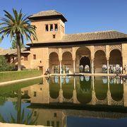 池にうつる古き宮殿との調和