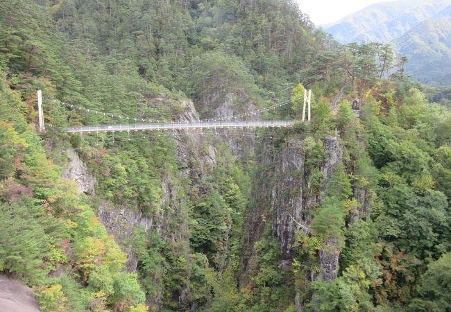 かつてのダム管理用吊り橋は、スタッフの努力で観光用吊り橋として開放されています