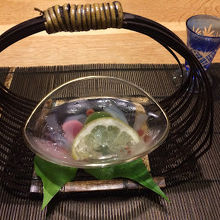 切子のグラスが素敵です