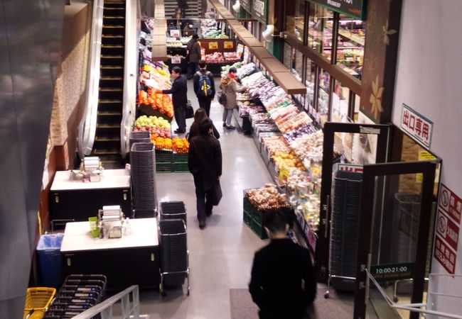 スケルトンな駅ビルのスーパーマーケット