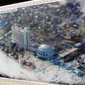大津波に襲われたかんぽの宿 旭:ベランダからの海の眺めは只々海が見える