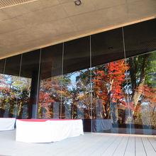 ガラス窓に映る紅葉は絵画のようでした