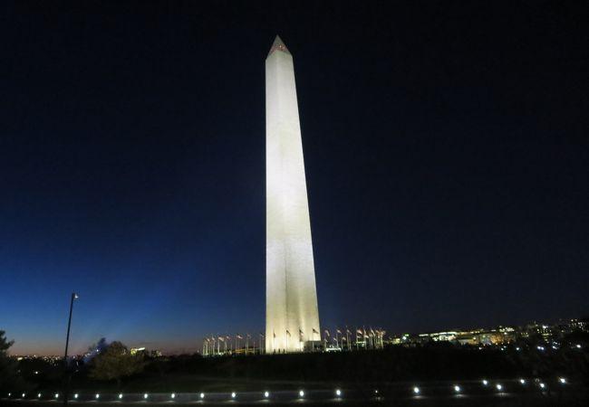 夜はライトアップされ白い塔が夜空に浮かび上がります
