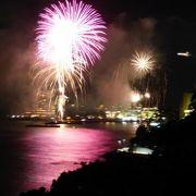 東急ハーヴェストクラブ熱海伊豆山&VIALAのお部屋のバルコニーからの熱海海上花火大会