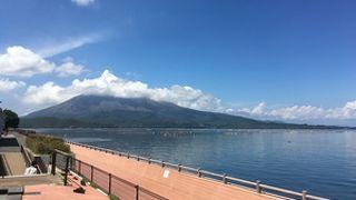 のんびり桜島と海を眺めながら
