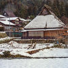 お正月 雪のかやぶき
