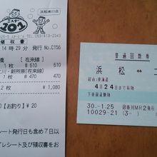 浜松~二川間のチケット