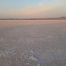 朝日でピンクに染まる塩湖
