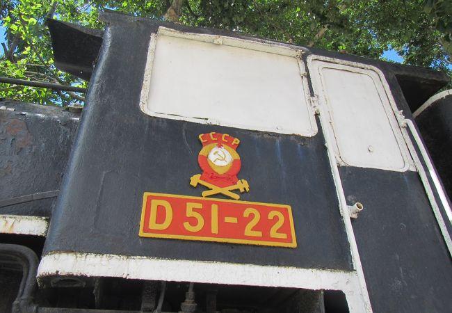 屋外に変わった塗装のD51の展示
