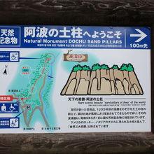 今回の土柱は手前の場所です。山道を散策すると、別な場所も