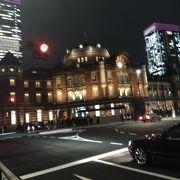夜の東京ステーションホテル オアゾ側から