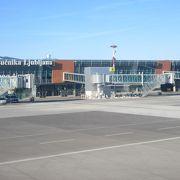 リュブリャナ市内から25kmくらい.小さい田舎の空港といった感じで迷うことはないと思います