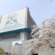 上山城の天守閣は改修工事中でした