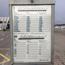 今回利用した、2番バスの時刻表(港・Dターミナル)