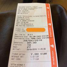 自動販売機で購入したバスチケット。レシートが乗車券