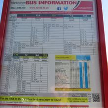 ブライトン方面時刻表 終バス時間が早いので本当に気を付けてく