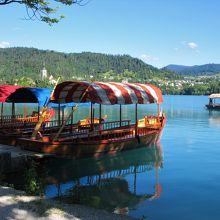 手漕ぎボートでブレッド島へ行きます。