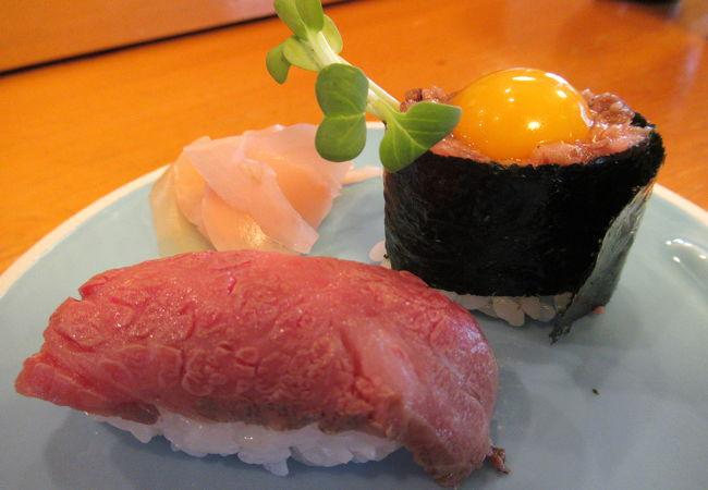 陸のトロ、前沢牛にぎり「助八寿司」