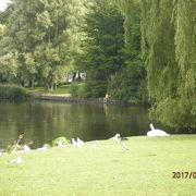 街の中心にある2つの湖
