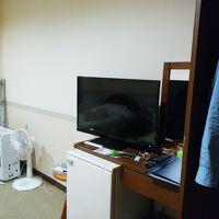 奥から暖房機、扇風機、テレビ、冷蔵庫、クローゼット