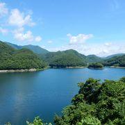 男鹿川をせき止めた人造湖。観光の香りはあまりない