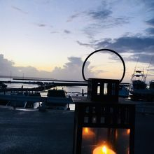 夕陽を眺めながらお酒