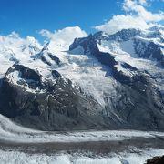 360度アルプスの山々と氷河に囲まれた絶景展望台