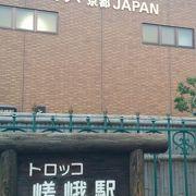 懐かしい蒸気機関車が展示されているジオラマ京都JAGPAN