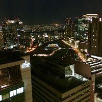 3302号室からの夜景と、伊丹空港に接近する航空機。